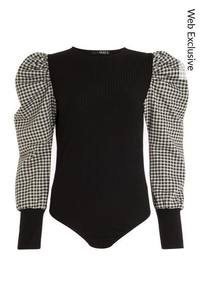 Black Gingham Puff Sleeve Bodysuit